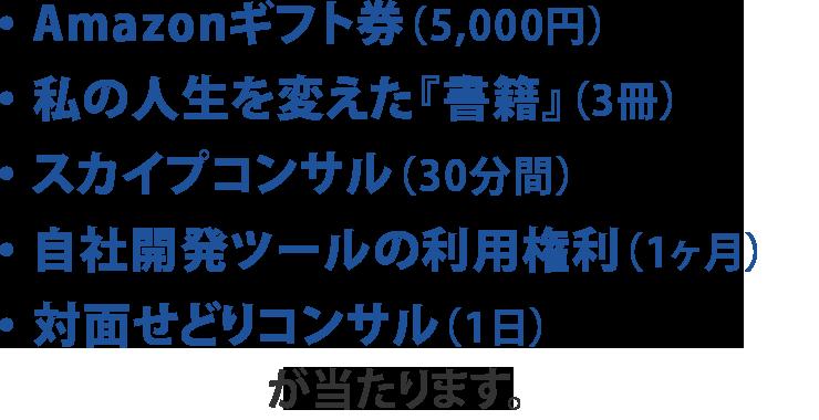 ・ スカイプコンサル(30分間)・ 対面せどりコンサル(1日)・ 自社開発ツールの利用権利(1ヶ月間)・ Amazonギフト券(5,000円)・ 神田謙一-特選-【人生を変えた書籍】(3冊)